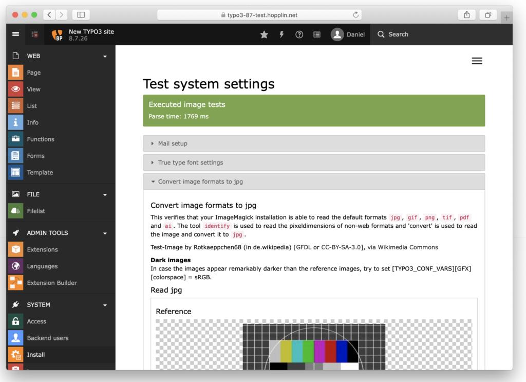 Vorschau von PDF mit ImageMagick - Test System settings -> convert image to jpg